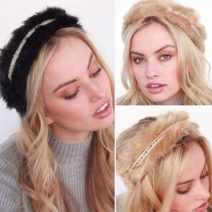 ❣️NEW❣️ Beige or Black Fur Studded Winter Headband