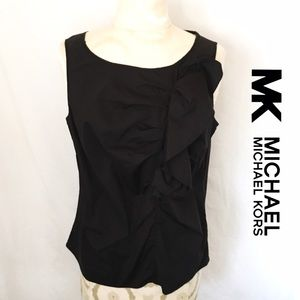 MICHAEL Michael Kors Tops - MK BLACK RUFFLE SLEEVELESS TOP