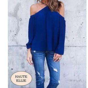 Royal Blue Bare Shoulder Loose Fit Top