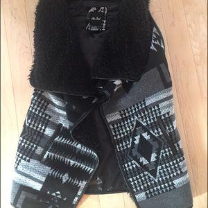 Aztec faux shearling vest