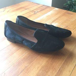 Banana Republic black calf hair loafers