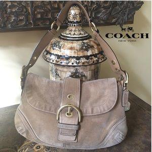 COACH TAN SUEDE SOHO BUCKLE BAG