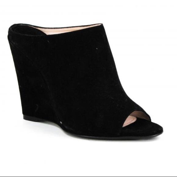 Prada Shoes Blk Velvet Wedge Mules Poshmark