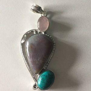 Rose Quartz, moss agate, turquoise pendant