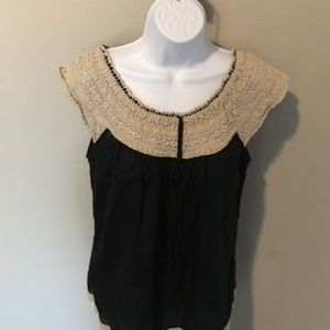 Lucky Brand Black Shirt with Lace detail