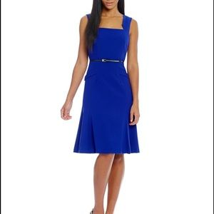 Calvin Klein Peplum belted fit and flare dress
