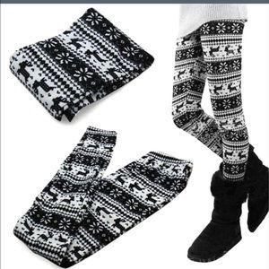Black & White Reindeer Leggings