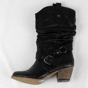 Shoes - Ankle buckles western cowboy boot (Wild-03 Black)