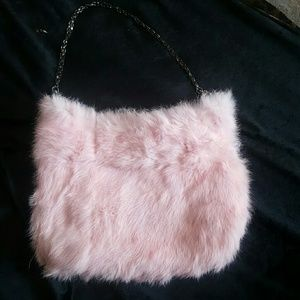 Handbags - Furry Pink fashion cocktail bag