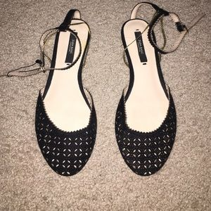 Zara ankle strap flats with gold chain