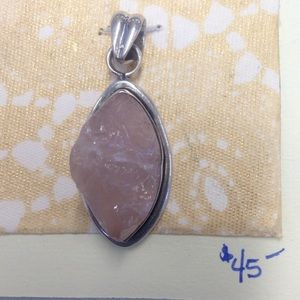 Jewelry - Sterling silver and pink quartz pendant