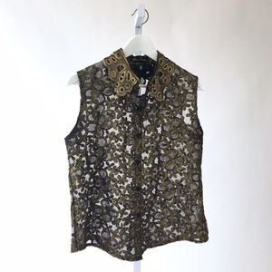 ModCloth Tops - Sleeveless Gold Embroidered Floral Blouse