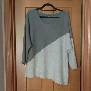 Asymmetric color block sweater