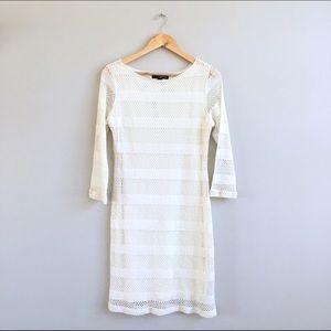 Dresses & Skirts - Cream Crochet Fitted Sheath Dress