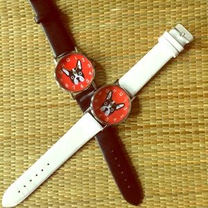  DOG FACE WATCH WHITE STRAP