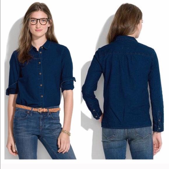 Madewell Tops - Madewell Indigo Collard Shirt sz XS