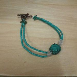 Western Chief Jewelry - Moonstone turquoise bracelet copper heart clasp