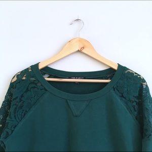 Nordstrom Tops - Nordstrom Hunter Green Lace Baseball Sweatshirt