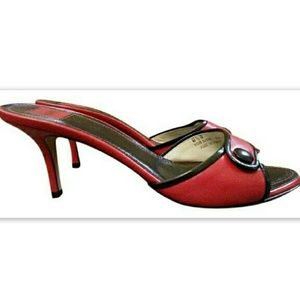 Coach Shoes - Coach Clare Heels Auth Red Leather Sandal Slides