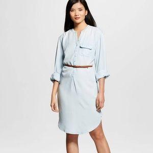 Light Blue Chambray Denim Shirt Dress Medium