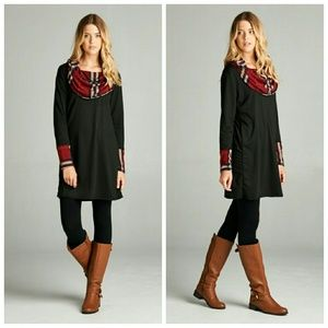 Dresses & Skirts - Plaid French Terry Tunic Dress