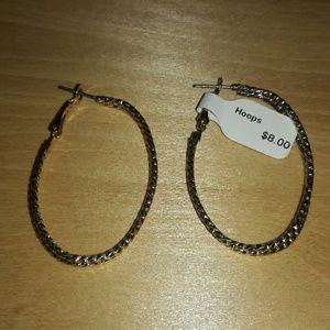 Goldsign Jewelry - Goldtone hoop earrings elegant design twisted wire