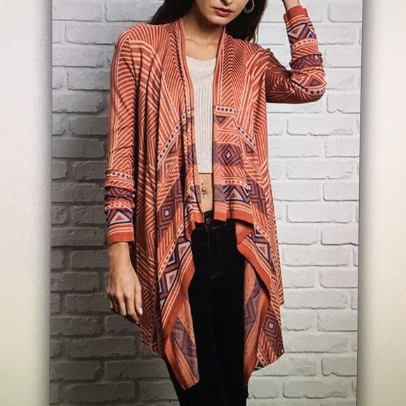 🍻Rust long🍻sleeve tribal geo sweater cardigan