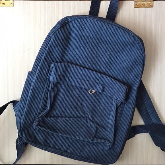 665aaae9d4 Handbags - Dark Blue Soft Corduroy Backpack