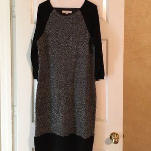 Gray and Black loft sweater dress