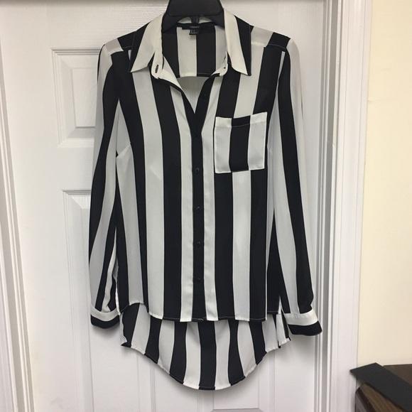 86b6e570 Forever 21 Tops | Black White Vertical Striped Blouse | Poshmark