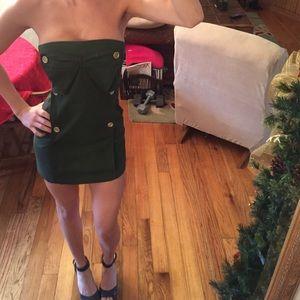 Army green mini dress.