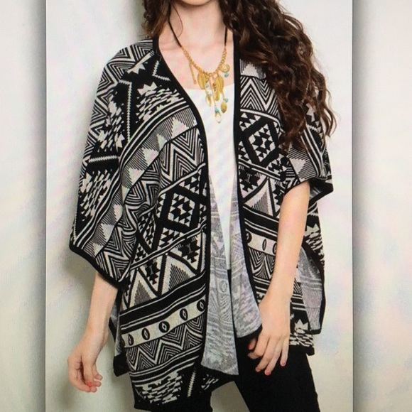 🕷Black Aztec🕷tribal poncho sweater cardigan