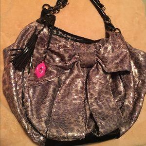 Sequin leopard bow bag