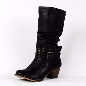 Shoes - Western Cowboy Strappy mid calf boot Wild-01blk