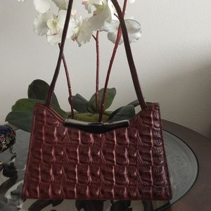 Handbags - Burgundy snake leather mini handbag