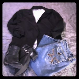 Black Maurices, Blazer With Runched Sleeves