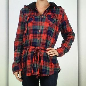 ⛺️Red/blue⛺️plaid fleece lined jacket
