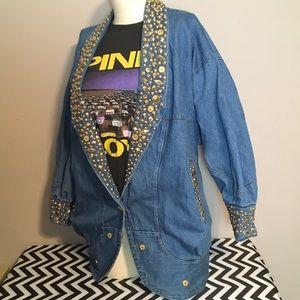 Vintage Jackets & Blazers - 🎉SALE🎉 VINTAGE bedazzled jean jacket sz M