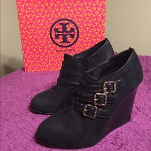 Tory Burch Gabriel Black High Wedge Booties Sz 8