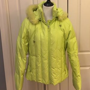 Long Elegant Legs Jackets & Blazers - Lime green hooded ski jacket