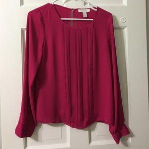 Bright pink chiffon blouse with keyhole