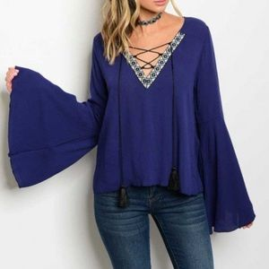 Tops - LAST ONE Deep Blue Lace Up Boho Tunic Top