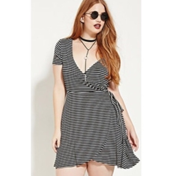 Black and white striped plus size dress