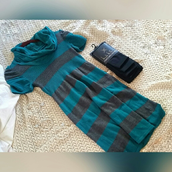 takeout Dresses - Teal and Grey Striped Sweater Dress