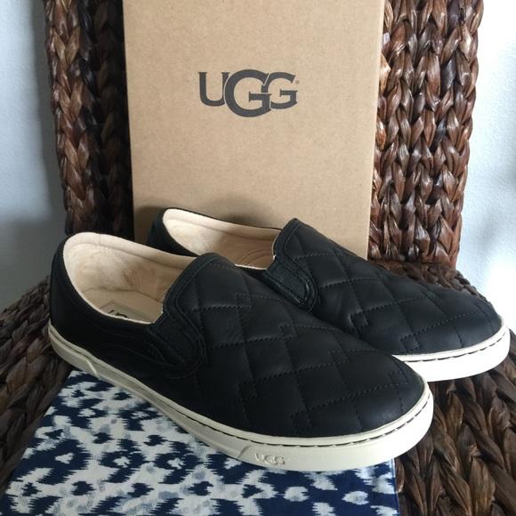 Ugg Fierce Deco Black Leather Slip On