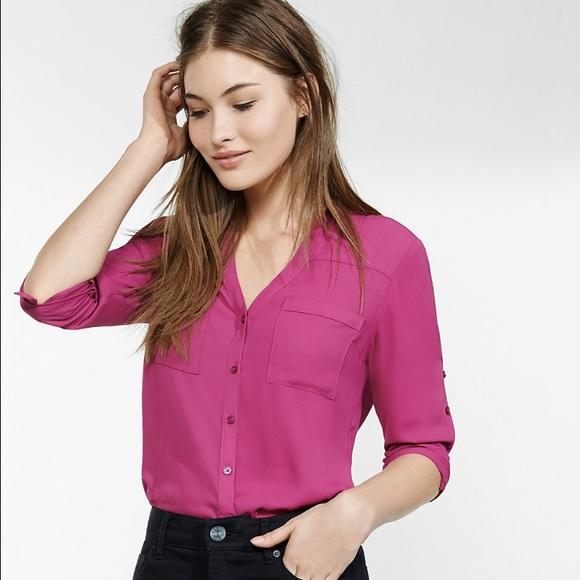 a9d66e8257752 Express Tops - Express Original Fit Portofino Hot Pink Shirt