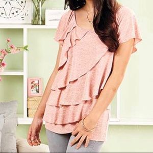 Allie & Rob Tops - Pink Ruffled Top