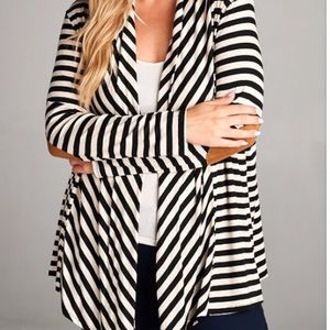 Sweaters - 3X Black/Off White Striped Open Front Cardigan