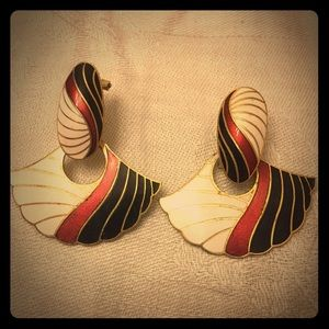 Vintage Jewelry - Vintage Red, White, Black, and Gold Earrings
