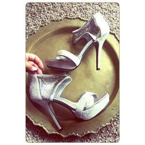 naughty monkey Shoes - Naughty Monkey Grey Platform open toe Sandal heels